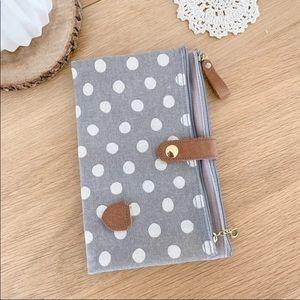 Canvas polka dot travel wallet / makeup bag
